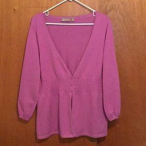 3/4 sleeve button sweater